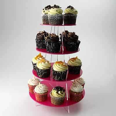 4 Tier Cupcake Stand, Wedding, Birthday, Christening, Party, Acrylic, 30 Colours