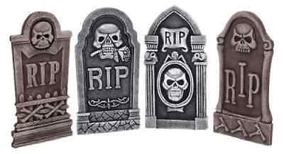 Set 4 Tombstones 40cm Graveyard Gravestones Headstones RIP Halloween Party Props
