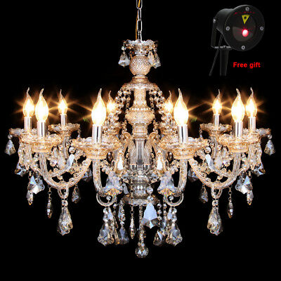 Crystal Chandelier 10 Arms Ceiling Light Candle Pendant Lamp Maple Leaves
