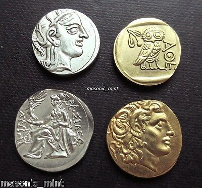 Repro Ancient Greek Coins, Alexander The Great - 24K Gold/silver Plated / Athens