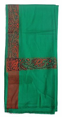 Long Green Habaib Style Turban Scarf w/ Brown Decoration Sorban  For Men Islamic