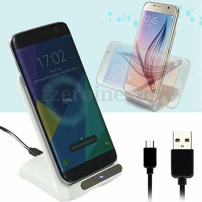 2 Coils Fast Qi Wireless Charger Pad Stand For Samsung Galaxy S7 Edge S6 Note 5