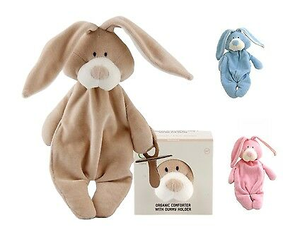 Wooly Organic Baby Comforter Bunny, Soother Holder, Boxed, Washable, From Birth