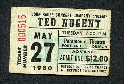 1980 Ted Nugent  concert ticket stub Portland OR Scream Dream