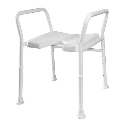 Shower Bath Stool – Height Adjustable Cut-Out Seat Bathing Aid for Shower