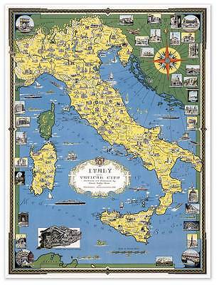 "Color Map of ITALY w Vatican City circa 1944 - 24"" x 32"" Europe Art Print Poster"