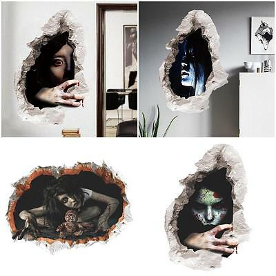 Halloween Horror Female Ghost Wall Sticker Poster Decoration Prop PVC