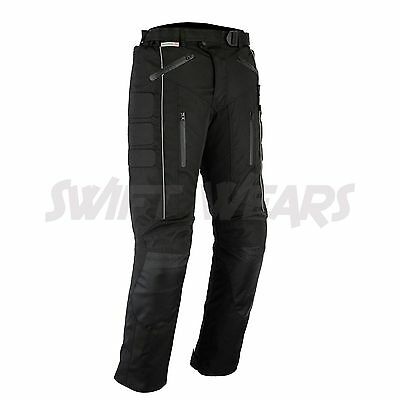 Motorbike Motorcycle Waterproof Cordura Textile Trousers Pants Armours BLACK