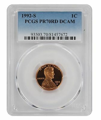 1992-S Lincoln Cent PR70RD DCAM PCGS Proof 70 Red Deep Cameo