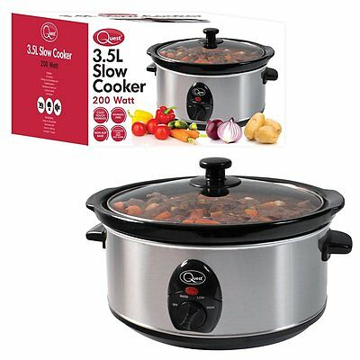 Brand New Quest Stainless Steel 3.5L Slow Cooker