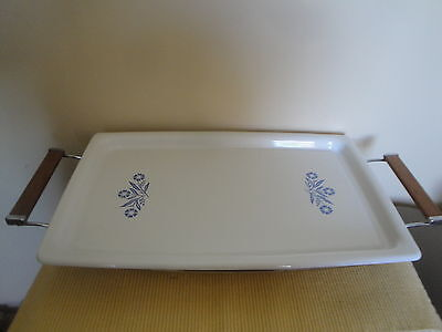 Vintage Blue Corning Ware Cornflower Broil Bake Tray W Stand