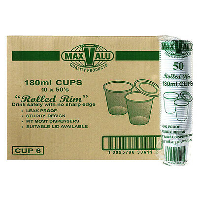 MaxValu Plastic Drinking Cups 180ml Rolled Rim White 500 Cups
