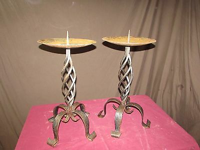 2 Vintage Wrought Iron Candle/Plant Holders #S129