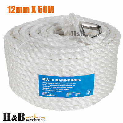12mm x 50M Anchor Marine Rope Boat Mooring Line Stainless Steel Thimble C0072