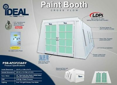 Cross Flow Paint Booth-Inside Access Lights -Nut/bolt-Powder Coated-Control Box