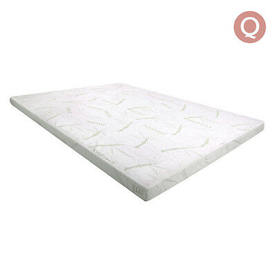 Memory Foam Mattress Topper with Bamboo Fabric Cover 7cm Queen