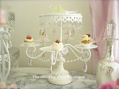 Shabby Crystal Pink Prism White Chic Cupcake Wedding Birthday Cake Display Stand
