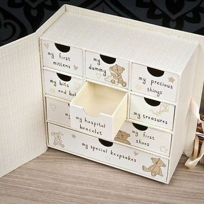 Button Corner Baby Keepsake Memory Box Drawers Chest Newborn Christening Gift