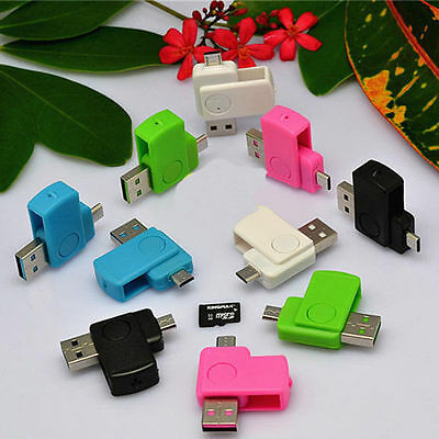 2 en 1 Lecteur Micro USB 2.0 OTG SD TF Carte MEMOIRE Reader pr ordinateur Mobile