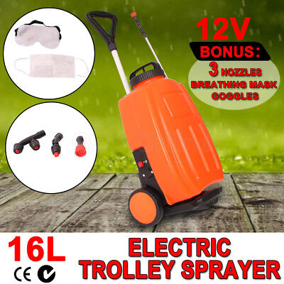 16L 12V Electric Weed Sprayer Backpack Tank Trolley Garden Portable Spot Spray