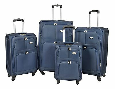 4 Wheel Spinner Travel Luggage Suitcase Expandable Soft Case LIGHTWEIGHT BLUE