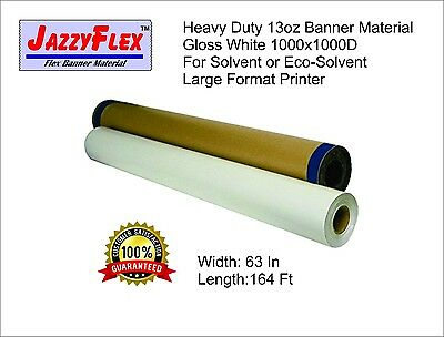 Heavy Duty 13oz Banner Material, 1000x1000d, Gloss White 63 in x 164 Ft Roll