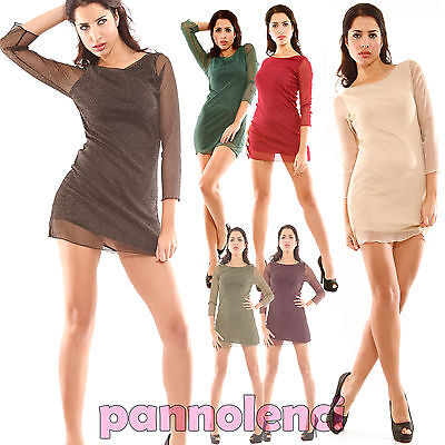 Suit Dress Sheer Lurex Dress Dress Minidress Woman Twiggy Style As-6261