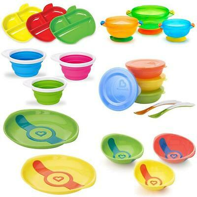 Munchkin Bowl Plate Food Weaning Snack Toddler Feeding Heat Sensitive Suction