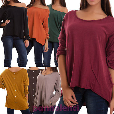 Pull femme t-shirt coton boutons manches longues casual neuf CJ-1783