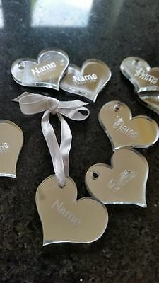 Personalised Engraved Heart With Name - Tags / Charms Wedding Hen Any Wording