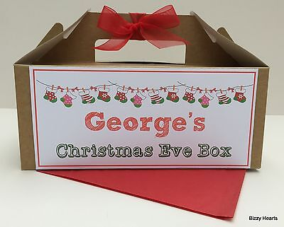 Personalised Christmas Eve Gift Box Brown Kraft Present Party Favour STOCKING
