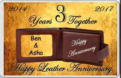 fridge magnet LEATHER 3rd Wedding Anniversary gift married 3 years personalised