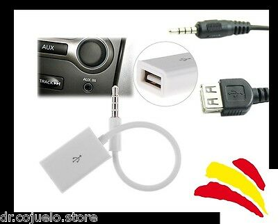 Cable jack macho 3.5mm audio USB 2.0 auxiliar  hembra movil mp3 radio coche