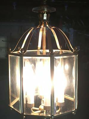 Brass and beveled glass hanging light