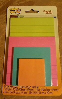 Post-it® Multi-Sized Notes 4 Pads Pack Assorted Bright Colors & Sizes New lined