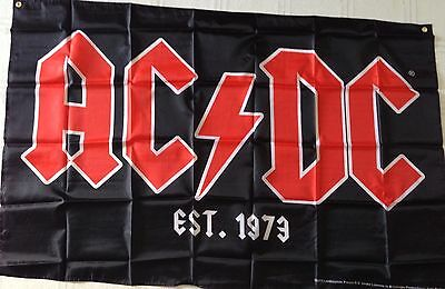 AC/DC Band Logo Large HOUSE FLAG AC DC Est. 1973 Rock Or Bust Tour