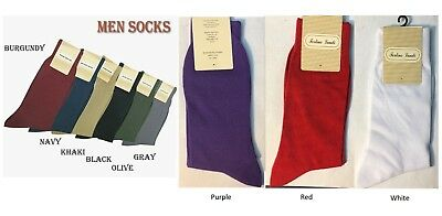 Men's High Quality Solid Color Dress Socks One Size 10~13  S02