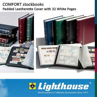 Lighthouse COMFORT Stockbook 32 White Pages Padded Burgundy Cover