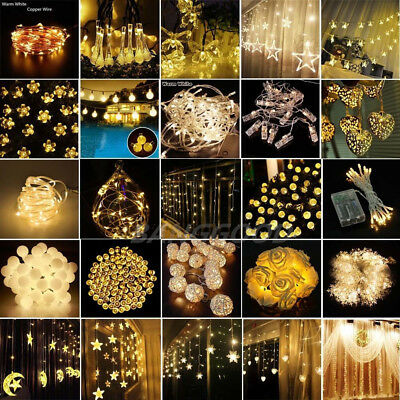 10-100LED Warm White Christmas Wedding Party Decor Outdoor Fairy String Light