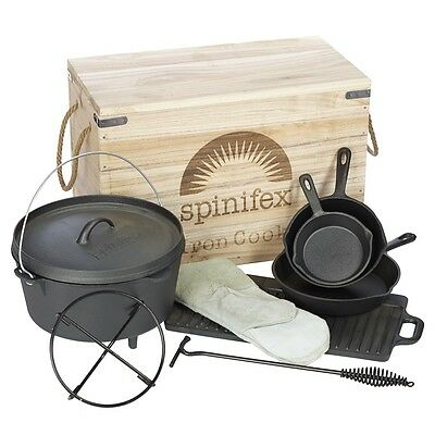NEW - Spinifex Cast Iron Wood Crate Cook Set