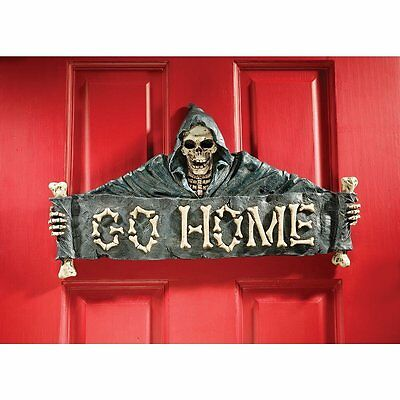 Grim Reaper Angel of Death Warning Sign Skull Theme Halloween Gothic Wall Decor