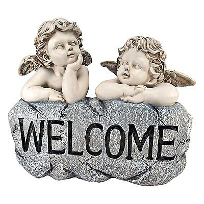 Garden Welcome Sign Baby Angel Cherub Statue Sculpture Yard lawn Art Decor
