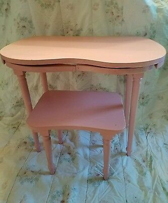 Vintage Pink Childs Chippy Cottage Shabby Kidney Shape Vanity Chic Spindle Stool