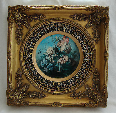 Antique Elaborate Gilt Framed Plate Plaque Flower Fairies Picture Mark To Base