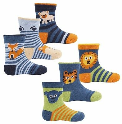 3 Pairs Boys Socks Animals/stripe 0-0,0-2 1/2,3-5 1/2 Cotton Rich