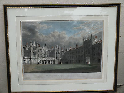 Excellent 1828 Colour Engraving of King's Court of Trinity College Cambridge