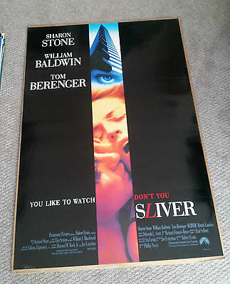 Sliver (1993) Original One Sheet Movie Poster 27x40 Sharon Stone William Baldwin