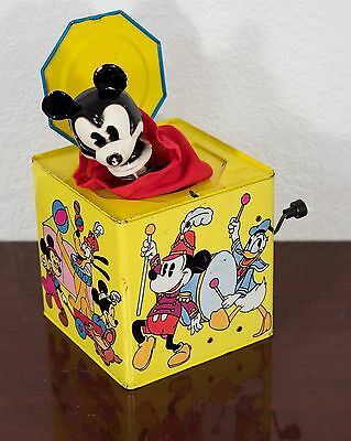 1960's DISNEY MICKEY MOUSE TIN LITHO / HAND CRANK JACK IN THE BOX