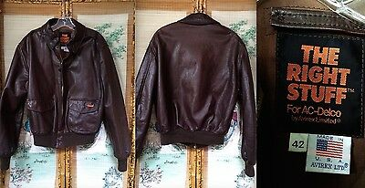 Vtg Avirex The Right Stuff Ac Delco Usa-Made Brown Leather Bomber Jacket Euc 42
