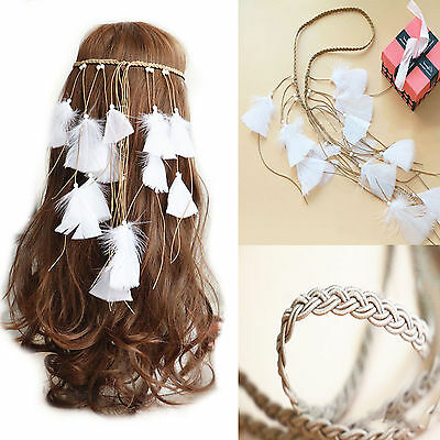 New 1X White Feather Bohemia Headband Hairband Feathers Hair Rope Woman Party